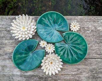 Waterlily soap dish, Handmade ceramic, emerald green, glazed ceramic leaf