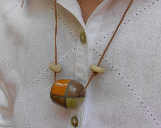 ON SALE Sand Dune Clay Bead Necklace