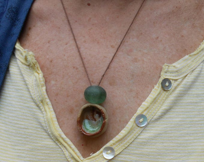 Natural Clay Necklaces on Cotton Cord