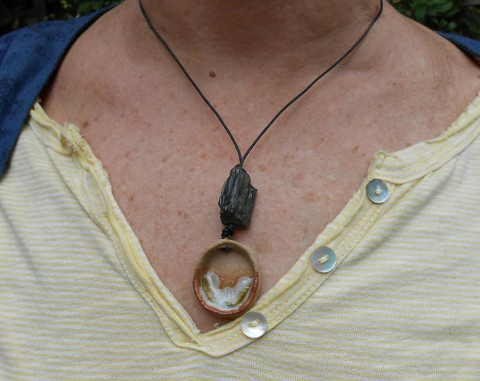 Natural Clay Necklaces on Leather Cord