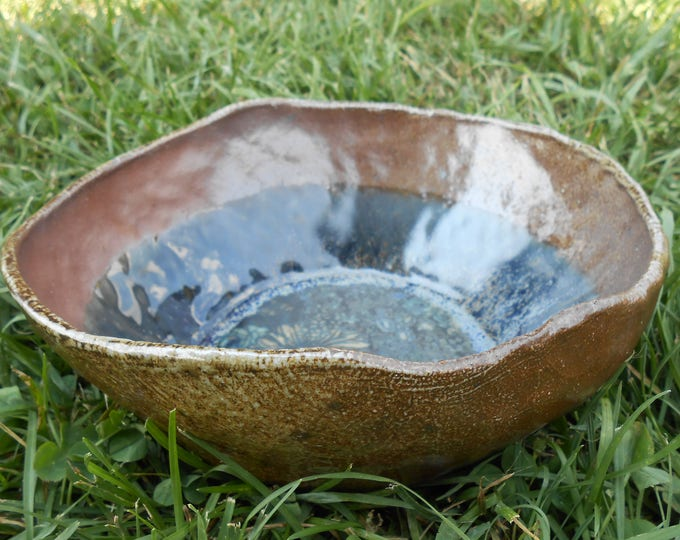Field of Cornflowers Wood Fired Clay Bowl