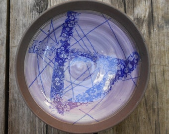 Purple Flower Clay Bowl