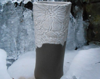 SALE Chocolate Lace Clay Vase