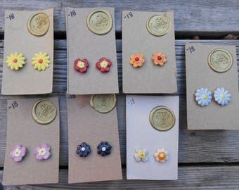 Vintage Flower Post Ceramic Earrings