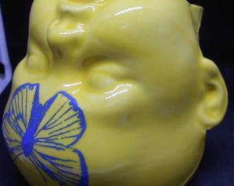 SALE Baby Headed Butterfly Clay Mug