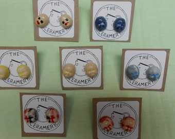 Baby Face Ceramic Post Earrings