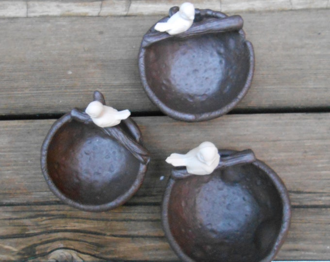 Bird in a Nest Clay Ring Dishes