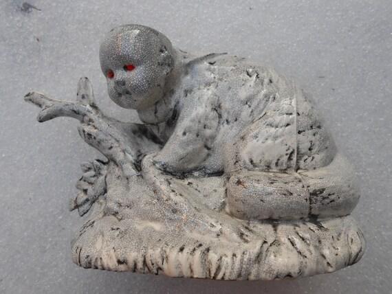 Raccoon Baby Ceramic Slip Cast Sculpture and Air Planter