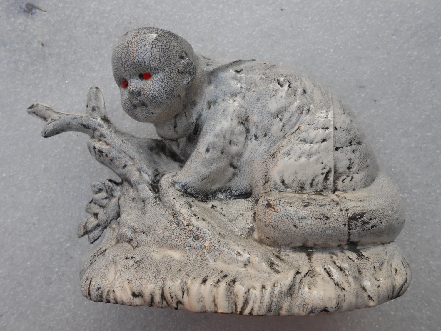 Raccoon Baby Ceramic Slip Cast Sculpture and Air Planter
