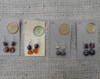 Ocean Floor Ceramic and Natural Gemstone Earrings ON SALE