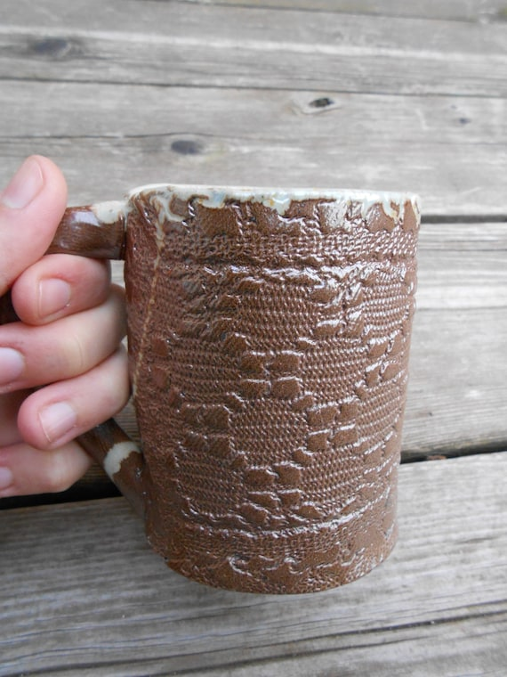 Ceramic Lacy Wood Fired Mug