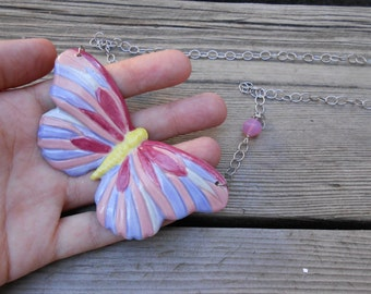Rosy Butterfly Ceramic Necklace Hand Painted ON SALE