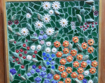 Ceramic Tile Mosaic Klimt Flower Garden Inspired
