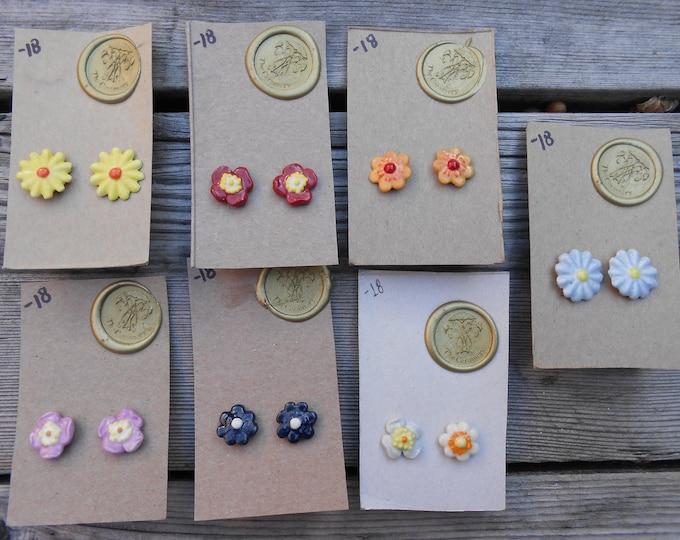Vintage Flower Post Ceramic Earrings