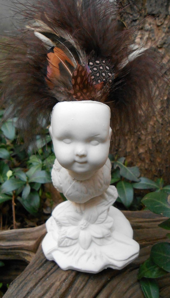 Baby Bird Feathered Ceramic Figurine