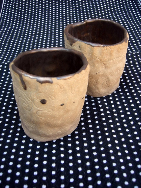 ON SALE Ceramic Twin Gold Cups