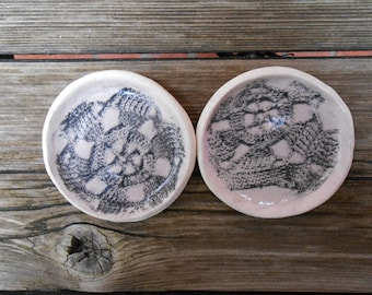 Lace Printed Clay Ring Dishes