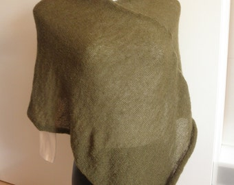 Rotten green poncho, mohair wool yarn, lightweight,poncho,accessory woman