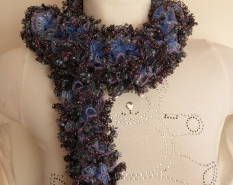 Pale blue,lilac,glitter ruffle fashion scarf,for woman,hand knit