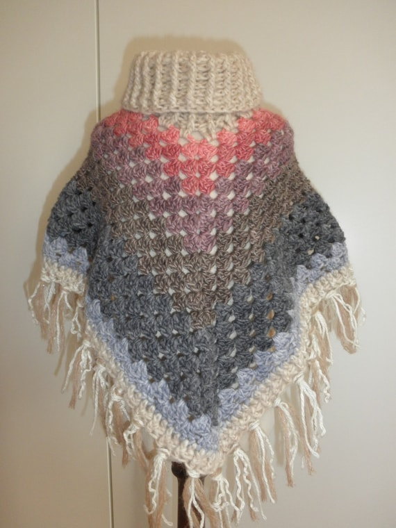 Baby Poncho Hand Haakwerk Oma Poncho Super Warme Grootte 2 4 Etsy