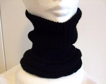 Man,Neck Warmer ,Black,Knitted ,Seamless