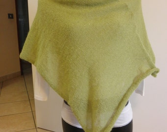 Acid green poncho,shawl,super soft,extra mohair,accessory,woman