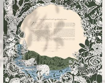 Woodland River papercut ketubah for Jewish weddings | wedding vows keepsake