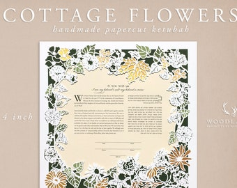 Cottage Flowers papercut ketubah | wedding vows | anniversary gift