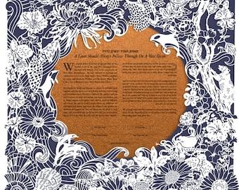 Wonders of Sea & Tree papercut ketubah | wedding vows | anniversary gift