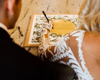 Moon & Flowers papercut ketubah | Jewish wedding