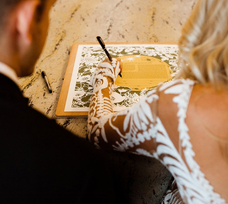 Moon & Flowers papercut ketubah  Jewish wedding image 0