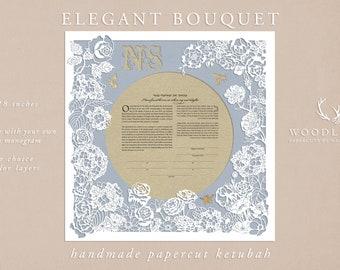 Elegant Bouquet handmade papercut ketubah | wedding vows | anniversary gift
