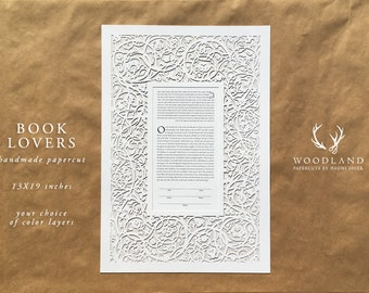 Book Lovers papercut ketubah | wedding vows | anniversary gift