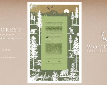 Our Forest papercut ketubah | Quaker certificate | wedding vows | anniversary gift