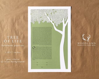 Tree of Life papercut ketubah | wedding vows | Quaker certificate | anniversary gift | one of a kind