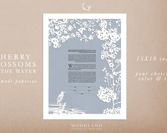 Cherry Blossoms on the Water papercut ketubah | anniversary gift | last one