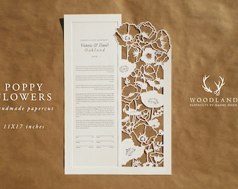 Poppy Flowers papercut ketubah | wedding vows | anniversary gift