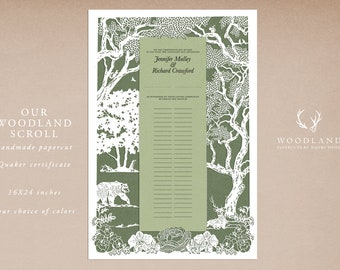 Our Woodland Scroll papercut ketubah | Quaker certificate | anniversary gift