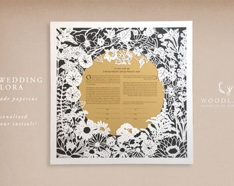 Our Wedding Flora handmade papercut ketubah | wedding vows | anniversary gift