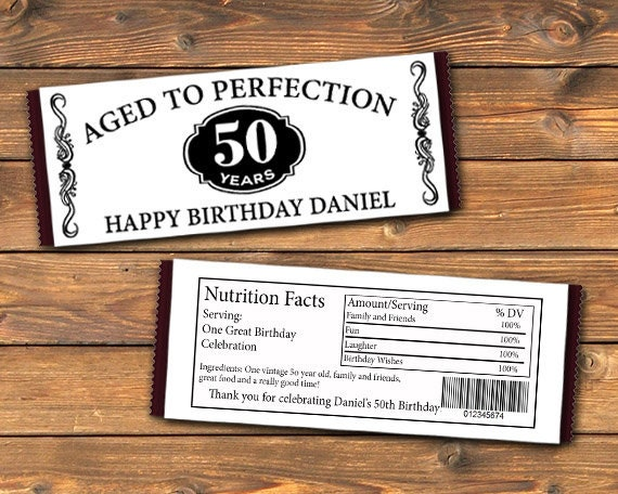 image about Free Printable Birthday Candy Bar Wrappers titled Old Toward Perfection Printable Tailored Sweet Bar Wrapper, Customized Occasion Hershey Bar Favors Labels, Do it yourself Label Wraps, 50th 60th 70th Electronic