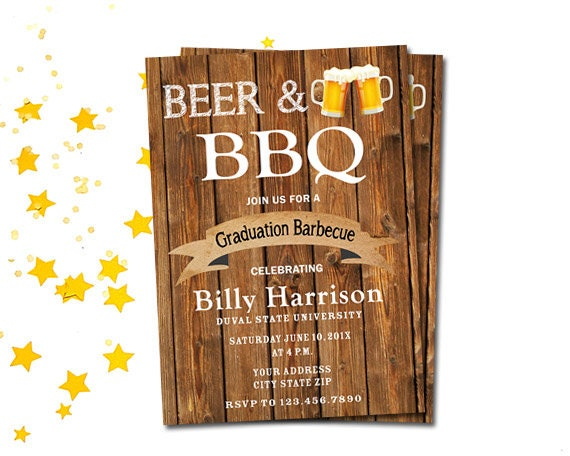 beer and bbq college graduation party invitation printable etsy
