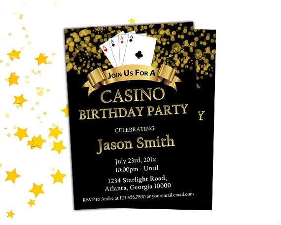 Casino Night Birthday Party Invitation Printable Poker ...