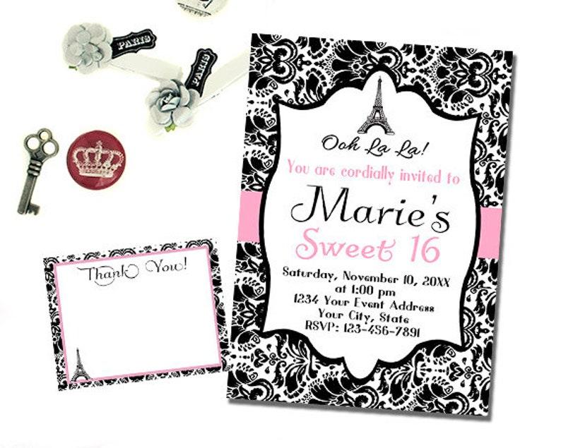 Paris Birthday Invitation Printable Personalized