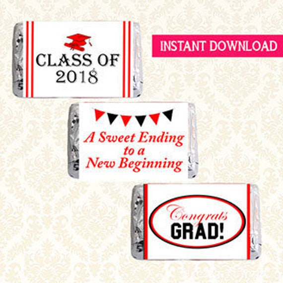 Items similar to mini candy bar wrappers class of 2018 for Free printable graduation candy bar wrappers templates