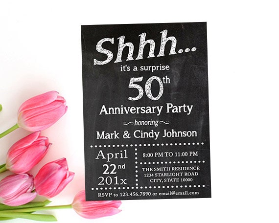 surprise anniversary party invitation printable chalkboard etsy