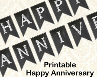 Happy Anniversary Banner, Diy Printable Chalkboard Anniversary Party Banner