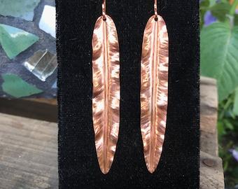 Long Leaf Earrings, Copper Nature Earrings
