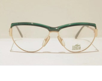 4ccd166b3f7 Lacoste Vintage Green and Gold Glasses
