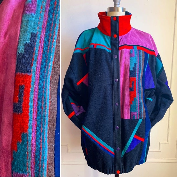 Vintage Multi Color Wool Suede and Velvet Patchwor
