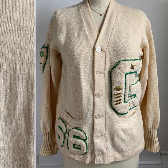 Vintage 1966 Varsity Knit Cardigan Sweater